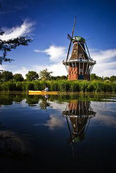 Windmill Reflected, Holland, Michigan.