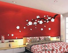 When we get a house, I am so doing the bedroom red walls with black and white accents. love the wall not so much the bed