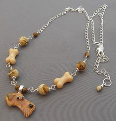 Airedale Dog Necklace Silver Jasper Jewelry Handmade