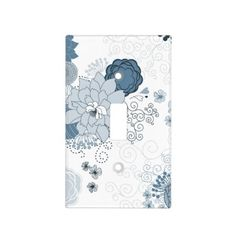 Blue Floral Light Switch Cover
