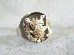 Vintage Peru Mask JVG Sterling Silver 925 and Adjustable Large Unisex Ring Sterling Jewelry, Gemstone Jewelry, Sterling Silver, Antique Rings, Wholesale Jewelry, Makers Mark, Rings For Men, Unisex, Gemstones