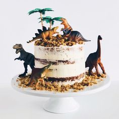 12 Charming Semi-Naked Cakes - Find Your Cake Inspiration - cake recipes - Dinosaur Birthday Cakes, 2 Birthday Cake, Dinosaur Party, Dinosaur Cakes For Boys, Birthday Ideas, Drip Cakes, Dino Cake, T Rex Cake, Character Cakes