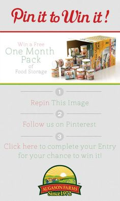 Follow these steps for your chance to #win a one month pack of #food #storage from Augason Farms  - http://l.inkto.it/91yo