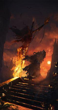 Bloodborne, copyright, Bloodborne The Old Hunters / 獣 - pixiv Bloodborne Concept Art, Bloodborne Art, Fantasy Landscape, Landscape Art, Dark Fantasy Art, Dark Art, Arte Dark Souls, Soul Art, Video Game Art