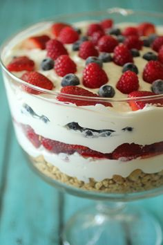 Whenever I'm in charge to bring dessert to a party or gathering, I automatically think to bring a trifle of some sort! They are the perfect party dessert, because they present beautifully, they are easy to make, and they are sure to please (and feed) a large crowd! This no bake cheesecake trifle is one of my favorites to make in the summer because it is the season of fresh berries, and it is perfect for the Fourth of July! I hope you enjoy!