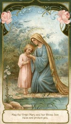 Blessed Virgin Mary and The Child Jesus Mother Of Christ, Blessed Mother Mary, Blessed Virgin Mary, Happy Mothers, Religious Pictures, Religious Icons, Religious Art, Catholic Prayers, Catholic Art