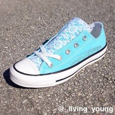 White Floral Lace on Aqua Blue Converse Low Top Sneakers - A new romantic twist to the classic converse. They are so pretty and delicate,