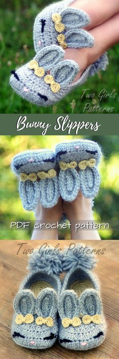 Bunny slippers! What an adorable crochet pattern for cute bunny slippers! I love the little bows by the ears! Fun Easter gift idea! #etsy #ad #pdf #crochet #pattern #handmade #printable #instant #download