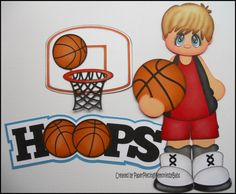 Premade Paper Pieced Boy Hoops Baskeball Set -by Babs Scrapbook Paper Crafts, Scrapbook Pages, Scrapbooking, Basketball Crafts, Clipart Boy, Paper Piecing Patterns, Scrapbook Embellishments, Box Design, Diy Paper
