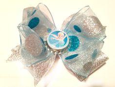 Metallic Silver Sparkle Frozen Elsa Bottlecap Bow-