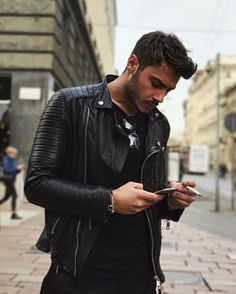 Hot instagrammer lucamacellaripalmieri in a black leather jacket