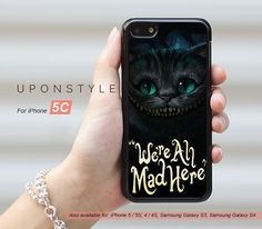 Phone Cases, iPhone 5C Case, We're All Mad Here, iPhone Case, Phone Covers, Skins, Case for iphone, Case No-50183