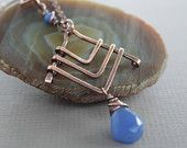 Art Deco design copper necklace in geometrical triangle shape with indigo blue chalcedony stone  - Art deco necklace - Select your stone