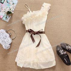 Stylish and Delicate Sweety Ruffles One-shouldered Chiffon Dress (APRICOT) China Wholesale - Sammydress.com