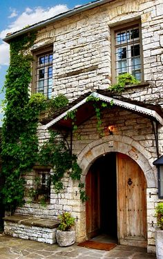 Traditional House in Papigo village, Epirus stone exterior deep set windows Fachada Colonial, Greek House, Brick Architecture, Stone Houses, Interior Exterior, Greece Travel, Oh The Places You'll Go, Traditional House, Old Houses