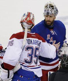 Dustin Tokarski serie 2013-2014 premiere apparition de tokarski Montreal Canadiens, Hockey Teams, Hockey Players, Goalie Mask, New York Rangers, Nhl, Masks, Passion, Drop