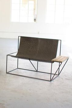 Raw Metal Double Sling Chair with Side Table — Petal Pushers