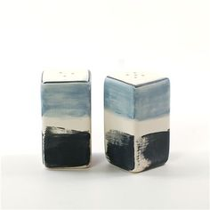 dinnerware by gail garcia : salt and pepper shakers in sky blue : functional art for the table, as each set is handpainted and one-of-a-kind!