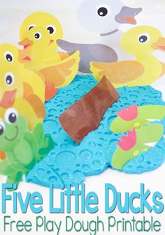 Practice counting and build language skills with this fun Five Little Ducks on the Pond free play dough printable.