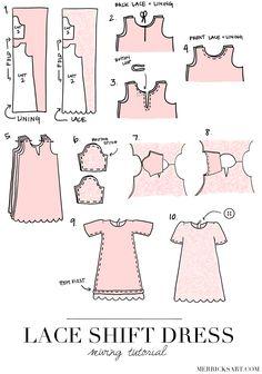 Lined dress tutorial.  http://www.merricksart.com/2014/08/lace-shift-dress-tutorial.html#more