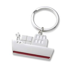 Red Striped Tugboat Metal Key Chain - Create A Favor