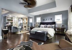 The walls are Benjamin Moore Thundercloud Gray (2124-40) and Deep Silver (2124-30).  Trim is BM Cloud White (OC-130) and ceiling is BM White Sand (OC-10). episode, #1605 Nuala and David's Master Bedroom.