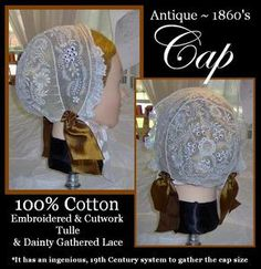 1860's day cap- Three Sisters Millinery