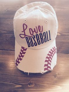 Love Baseball - Glitter Baseball Cap  One Size - Hideaway Strap with Metal D-Ring Slider  *Printed on a Distressed Cap*  Stone Cap - Red and