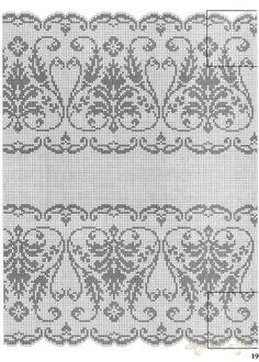 "Filet crochet or cross stitch ""lace"" Filet Crochet Charts, Crochet Borders, Crochet Cross, Knitting Charts, Thread Crochet, Knitting Patterns, Crochet Patterns, Xmas Cross Stitch, Cross Stitch Borders"