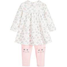 Little Marc Jacobs Baby Girls Ivory & Pink Dress 2 Piece Set at Childrensalon.com