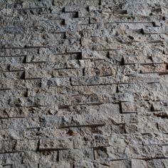 Natural Stone Beige Travertine 1x2 Split Face Mosaic Tile