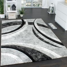 Teppich Rayna in Grau/Schwarz Zipcode Design Teppichgröße: Rechteckig 160 x 230 cm Dark Grey Rug, Black Rug, Brown Rug, Grey Rugs, Pink Rugs, Black White, High Pile Rug, Tapis Design, Black Carpet