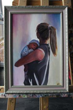 Oil on canvas, babe, mam