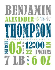 Birth Date Baby Boy Stats Nursery Wall Art Customized 16x20 PRINT for New Baby Boys. $32.00, via Etsy.