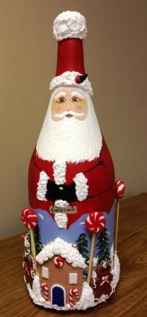 Wine Bottle Santa by Mary Schwaiger - I loved receiving this as a gift from The Artist herself because I know she painted & sculpted it with love!