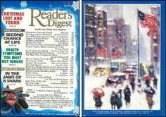 """Reader's Digest front and back cover, December 1991  Art Director:Richard J. Berenson Artwork on back: """"Fifth Avenue Storm"""" byGuy C. Wiggins  Guy Carleton Wiggins(1883 – 1962) was an American Artistwho became famous for his paintings of New York City'ssnowy streets, landmarks and towering skyscrapers during the winter.   richard j. berenson 
