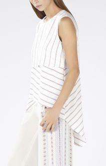 Eleanore Printed Stripe-Blocked Top