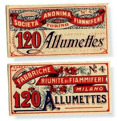 Match box covers.  The defined borders, type in banners, and busy embellished designs make for great examples of victorian design.  The lower one shoes later victorian concepts with fewer curves in the lettering and a less busy background.