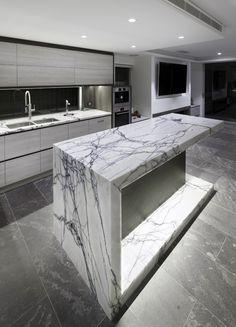 modern mid century home design Kitchen Design Open, Modern Kitchen Island, Luxury Kitchen Design, Modern Farmhouse Kitchens, Kitchen Grey, Kitchen Islands, Kitchen Paint, Home Design, Küchen Design
