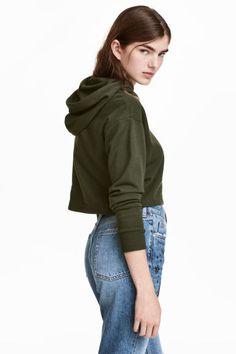 Krótka bluza z kapturem - Ciemnozielony - ONA | H&M PL 1