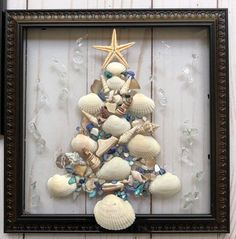Christmas Tree and Wreath Resin Art SunCatchers - Set of TWO!  This SET of TWO resin art frames are a perfect decoration for a holiday or for every day! Handmade in Florida, the designs incorporate crushed shell/glass, sand and seashells and is bonded (not glued) to glass with resin and framed in an