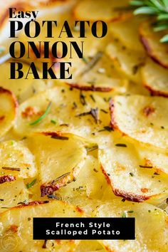 This Layered Potato and Onion bake (Boulangere Potatoes) is a french potato dish that is easy to make and a great alternative to creamy scalloped potatoes. Healthy Potatoes, Scalloped Potato Recipes, Cheesy Potatoes, Mashed Potatoes, Potatoes Au Gratin, Vegetable Dishes, Vegetable Recipes, Vegetarian Recipes, Amigurumi