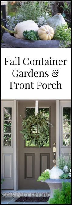 Natural and Neutral Fall Container Garden and Front Porch Ideas using primarily Grocery Store Produce, Vegetables and Herbs with a few nursery items to fill in. The gray/green/white hues echo a softer side of Autumn.