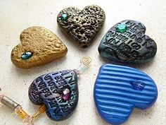 Make your own heart beads using Marie Segal's easy textured polymer clay heart tutorial.