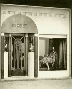 French Art deco: Facade & Shop doorway for SIEGEL store at Art Deco Expo 1925. Paris.