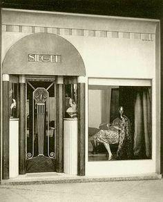 French Art deco: Facade & Shop doorway for SIEGEL store at Art Deco Expo 1925. Paris.