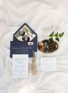 Elegant navy wedding invitation. Fruit details.