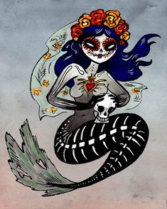 "Spooky Dia de los Muertos Mermaid Day of the Dead by @daisychurch Great gift idea for Day of the Dead or Mermaid fans! I like to think she represents the ""Dead"" Sea ; )"