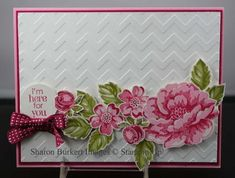 Love how the flowers pop off the white Chevron background! Warning: that's a lot of fussy cutting going on!