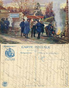 """Scène d'avant-poste - La popote - Collection """"Dubonnet"""" 1914-1915 (from http://mercipourlacarte.com/picture?/118) Collection """"Dubonnet"""" - Chambre Syndicale Française des Éditeurs de la Carte Postale Illustrée - Imprimeries Léopold Verger & Co, Paris"""